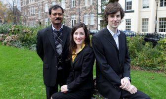 WorldDesk Founders Jonathan Chesney and Claire Moore with Rao Cherukuri CEO DeskStream