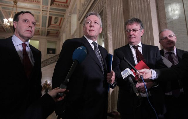 First Minister Peter Robinson and UUP leader Mike Nesbitt hold a press conference in the Great Hall at Parliament Buildings