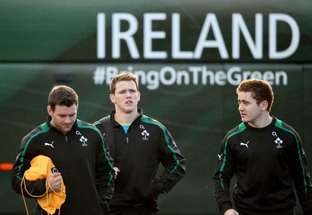 Ireland's Fergus McFadden, Craig Gilroy and Paddy Jackson. 