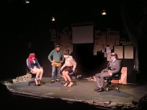 On stage performing at the preview, from left to right: Evelyn Lockley (The Daughter), Cathal Quinn (The Kidnapper), Tara Breathnach (The Wife) and Michael Bates (The Banker)
