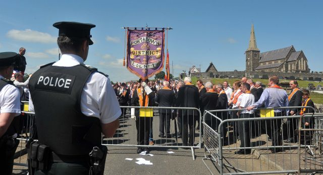 The scene at the bottom of Drumcree Hill on Sunday afternoon following the annual Drumcree Parade