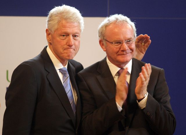 The former US President Bill Clinton with Deputy First Minister Martin McGuinness