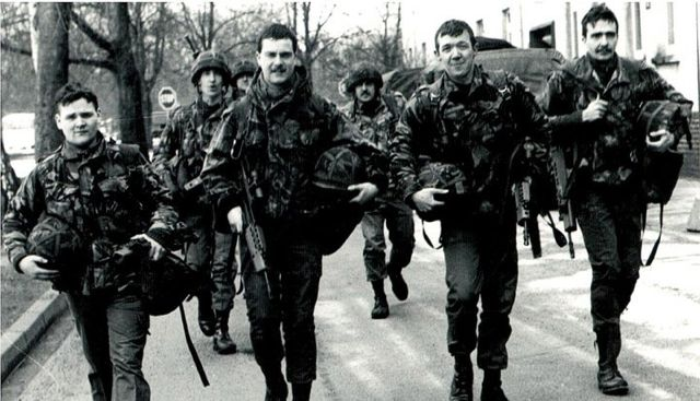 Glen Bradley (front row - second from left) pictured on duty as a British soldier