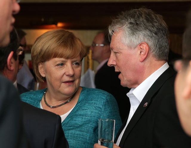 First Minister Peter Robinson with German Chancellor Angela Merkel