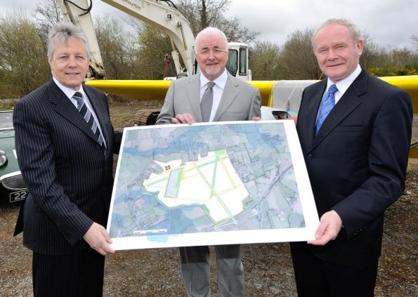 First Minister Peter Robinson, Terence Brannigan and deputy First Minister Martin McGuinness