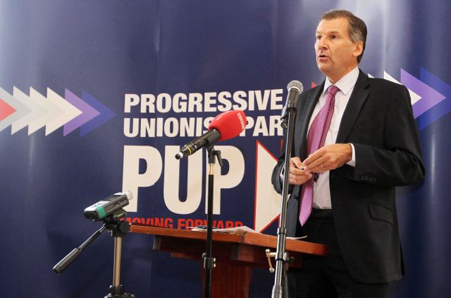 Irish News editor Noel Doran speaks at the Progressive Unionist Party annual conference at Brownlow House in Lurgan, Co. Armagh.