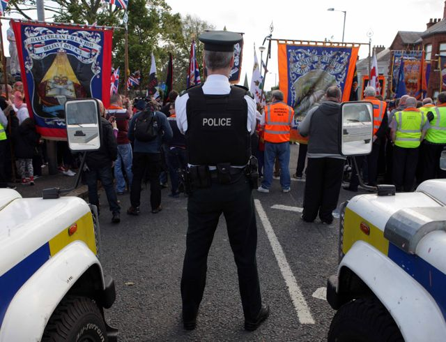Orangemen and bandsmen gather close to Twaddell Avenue
