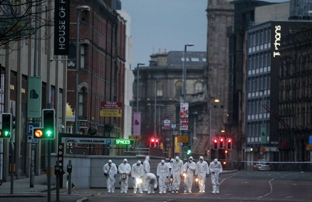 The scene at the top of Chichester Street in Belfast City Centre beside Victoria Square where a car bomb partially exploded on Monday