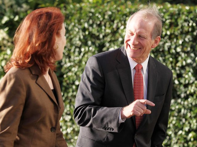 Meghan O'Sullivan and Dr Richard Haass pictured taking a break from the meeting at the Stormont Hotel.