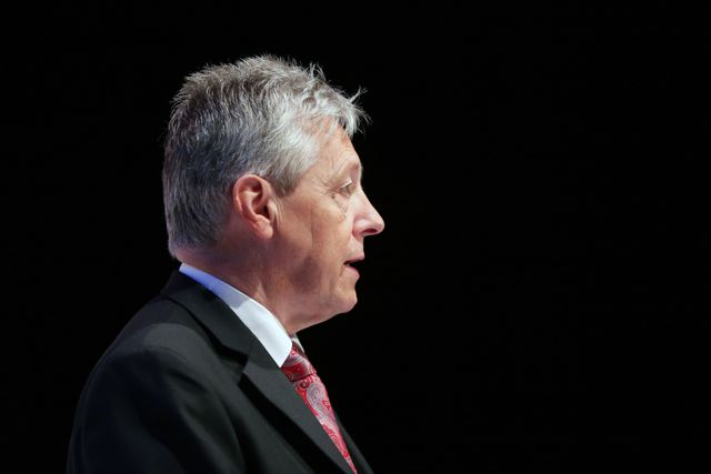 First Minister Peter Robinson pictured at the launch of the DUP manifesto at the Crescent Arts Centre.
