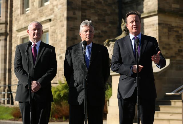 Deputy First Minister Martin McGuinness, First Minister Peter  Robinson and Prime Minister David Cameron