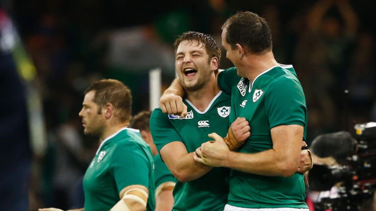 Iain Henderson of Ulster is euphoric with Devin Toner of Leinster
