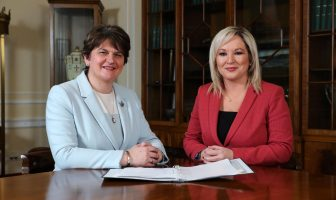 First Minister Arlene Foster with deputy First Minister Michelle O'Neill