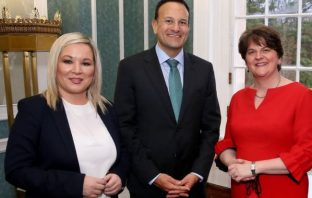 Northern Ireland's First Minister Arlene Foster and deputy First Minister Michelle O'Neill, Taoiseach Leo Varadkar